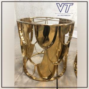 Bàn trà inox xi vàng ánh kim MS01