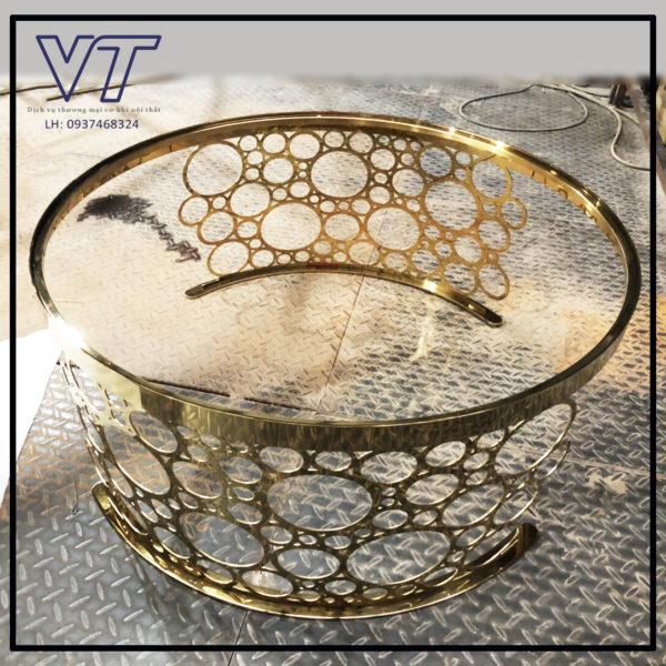 Chân bàn trà inox CNC mạ vàng ánh kịm Vinh Thành Steel